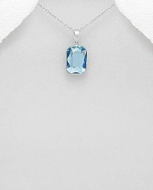 925 Sterling Silver Pendant & Chain Decorated With An Aquamarine Swarovski Crystal Stone